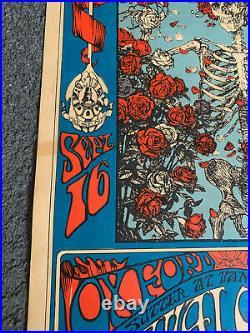 1966 Grateful Dead Skeleton & Roses Concert Poster REAL VINTAGE ONE