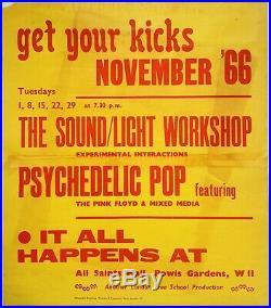 1966 PINK FLOYD original concert poster (All Saints Hall) November'66 residency