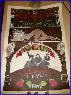 1967 The Youngbloods Western Front Concert Poster Psychedelic San Francisco Rare