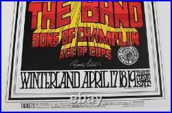1969 The Band Concert Poster Randy Tuten Artist Signed Winterland San Fran BG169