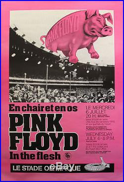 1970s ORIGINAL VINTAGE PINK FLOYD CONCERT POSTER, IN THE FLESH NEON PINK PIG