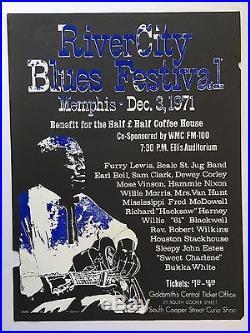 1971 Furry Lewis Bukka White Concert Poster Folk Blues Fred McDowell Mose Vinson
