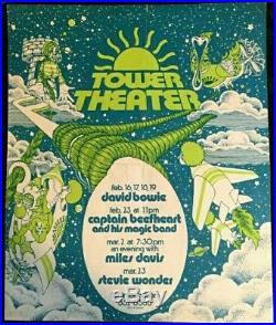 1973 David Bowie Ziggy concert Flyer Tower Theater Philadelphia Advertisement Ad