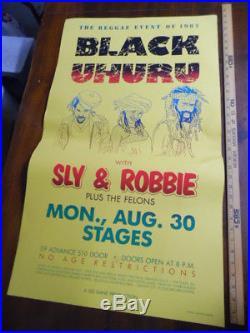 1982 BLACK URUHU SLY & ROBBIE Reggae Concert Poster St Louis MO Vintage ORIGINAL