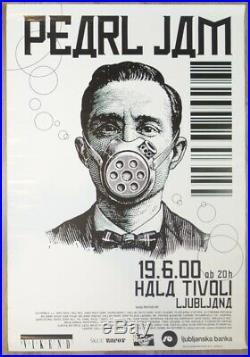 2000 Pearl Jam Ljubljana Slovenia Rare Original Promo Concert Poster