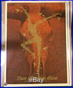 2009 Dave Matthews Band Austin Acl Gold Flower Fire Dancer Concert Poster 10/03