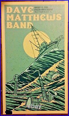 2009 Dave Matthews Band West Palm Beach N2 Boat 09 Concert Poster 8/15 Fl Bonus