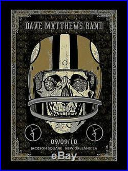 2010 Dave Matthews Band New Orleans Saints Helmet Skull NFL Concert Poster 9/9ap