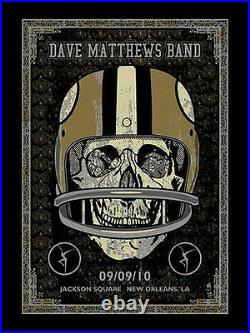 2010 Dave Matthews Band New Orleans Saints Skull NFL Concert Poster 9/9 S/n