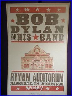2011 Bob Dylan Concert Tour Ryman Auditorium Hatch Nashville TN Poster August 11