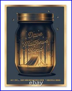 2018 Dave Matthews Band Noblesville Deer Creek Gold Foil Concert Poster 7/7 S/n