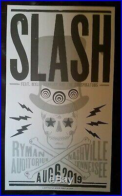 2019 SLASH & Myles Kennedy Ryman HATCH SHOW PRINT Nashville Concert Poster GNR