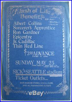 ALBERT COLLINS Sick's Seattle Stadium 1975 CONCERT POSTER Blues BENEFIT Show