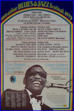 ANN ARBOR 1973 BLUES & JAZZ FESTIVAL concert poster GARY GRIMSHAW RAY CHARLES