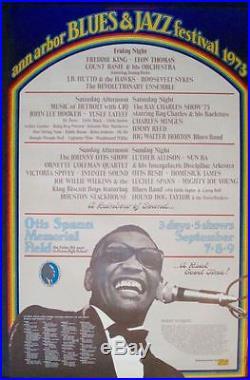 ANN ARBOR 1973 BLUES & JAZZ FESTIVAL concert poster GARY GRIMSHAW RAY CHARLES NM