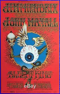Absolutely Gorgeous 1968 Jimi Hendrix'flying Eyeball' Fillmore Concert Poster