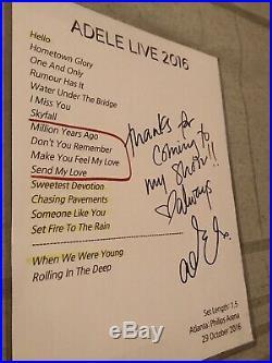 Adele Signed Autographed Concert Setlist JSA Letter Rarest Of Rare US TOUR 2016