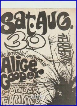 Alice Cooper Rare Original Very Early Rare Concert Flyer Handbill