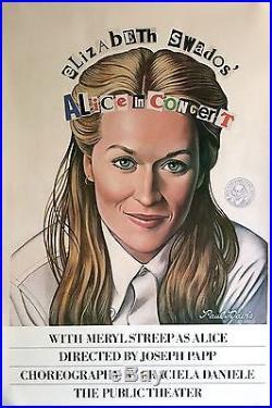 Alice In Concert Original 1980 Public Theater Poster Meryl Streep 38 X 25
