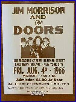 Authentic Original Vintage 1966 Jim Morrison & The Doors Concert Poster New York