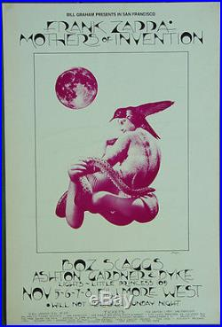 BG255 FRANK ZAPPA Boz Scaggs 1970 Fillmore West Original Concert POSTER 1st