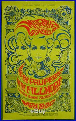 BG64 Martha & the Vandellas PAUPERS 1967 Original Fillmore Concert Poster