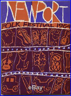 BOB DYLAN Joan Baez Original 1964 Newport Folk Festival Concert Ticket Stub