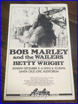 Bob Marley 1978 Original Concert Poster 1st Print Reggae Rasta Santa Cruz Ca