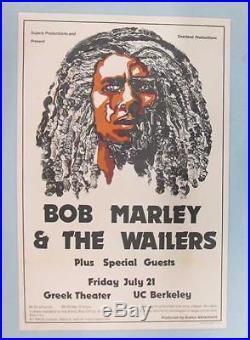 Bob Marley Wailers Berkeley 1978 Original Concert Poster Greek