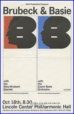 COUNT BASIE DAVE BRUBECK Original 1964 Concert Handbill Flyer MILTON GLASER