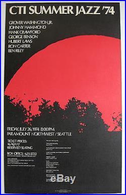CTI JAZZ'74 GEORGE BENSON HUBERT LAWS Paramount Northwest US ORG CONCERT POSTER