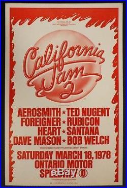 California Jam 2 ORIGINAL 1978 CONCERT POSTER Aerosmith Heart Foreigner Santana