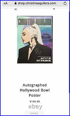 Christina Aguilera signed poster Hollywood Bowl Concert Pre order Sold Out Rare