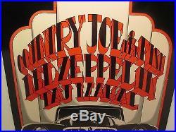 Country Joe & Fish Led Zeppelin Taj Mahal Concert Poster Fillmore c1969 R Tuten
