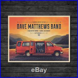 Dave Matthews Band Gorge Weekend Van Concert Poster September 2-4 2016 Mint