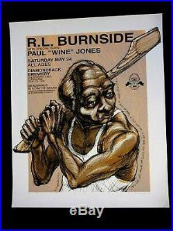 DEREK HESS R. L. Burnside Concert Poster Signed #'d Limited Ed. 1997