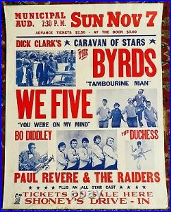 DICK CLARK BYRDS WE FIVE PAUL REVERE DIDDLEY SIGNED! 1965 AOR 1.108 Poster RARE