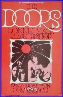 DOORS BG 186-2 COW PALACE vintage concert poster RANDY TUTEN BILL GRAHAM 1969 NM