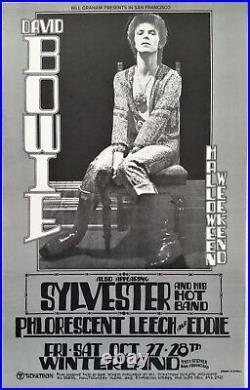 David Bowie 1972 San Francisco Original Concert Poster Halloween Weekend