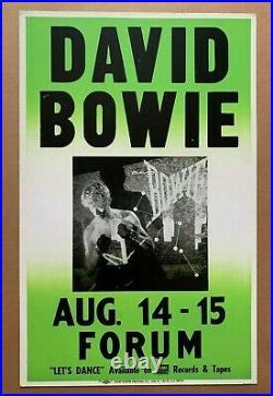 David Bowie Forum ORIGINAL Concert Cardboard Colby Poster EX- 1983