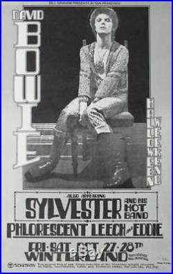 David Bowie Original San Francisco Winterland Concert Poster Signed Randy Tuten
