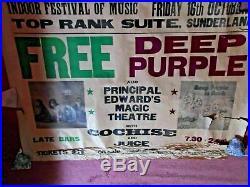 Deep Purple Free Original Concert Poster Top Rank Suite Sunderland 16 October 70