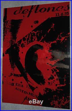 Deftones Austin TX 2003 concert poster F27 Factor 27 art design red acetate rare