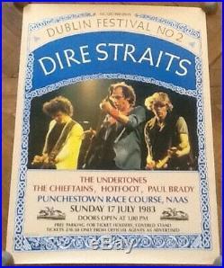 Dire Straits Undertones Original Concert Tour Gig Poster Punchestown Dublin 1983