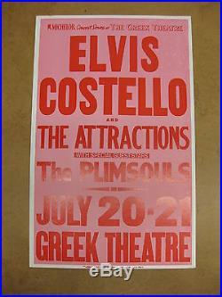 ELVIS COSTELLO Greek Theatre 1982 US ORG Cardboard CONCERT POSTER Plimsouls PUNK
