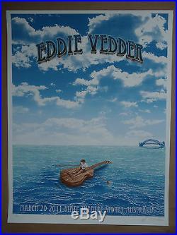 Eddie Vedder Emek signed doodled concert poster print Australia Pearl Jam 2011