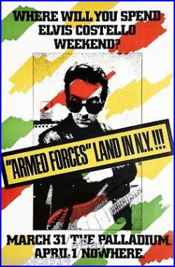 Elvis Costello Armed Forces Land in NY Concert Authentic Original 1979 Poster