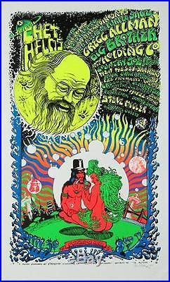 Emek Chet Helm's Benefit 1994 Original Rock Concert Poster Signed