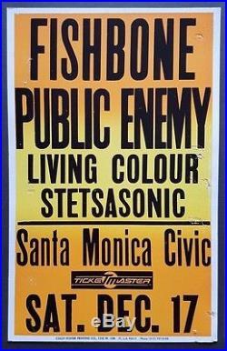 FISHBONE/PUBLIC ENEMY Vintage OG Promo Concert Poster'88 NWA Beastie Boys COLBY