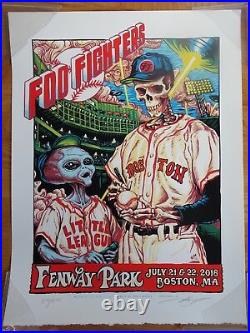FOO FIGHTERS July 2018 FENWAY PARK SKULL Concert Poster Dave Grohl TED WILLIAMS